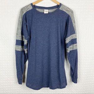 Pink VS Long Sleeve Blue & Gray Raglan T-shirt S
